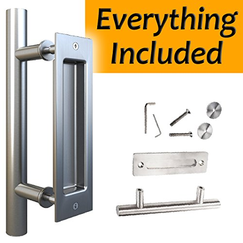"""Stainless Steel Sliding Barn Door Handle (Silver) Rounded Swiss Rod for Exterior, Flush Pull for Interior. All Screws Included for Easy Installation. Large 12"""". Modern, Elegant, Tough and Rust (Rounded Door)"""