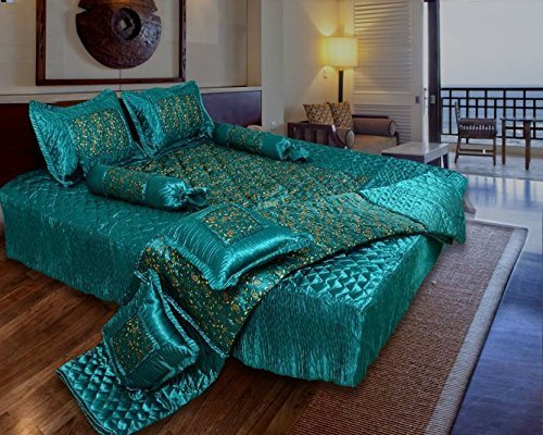 ManavRachit Gold Printed Satin Wedding Bedding Set of 8pcs [1 Bedsheet with 2 Pillow Covers, 2 Filled Cushion, 2…