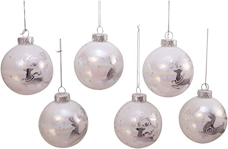 Amazon Com Kurt S Adler Kurt Adler 80mm Iridescent Reindeer Glass Ball 6 Piece Box Ornament White Silver Home Kitchen