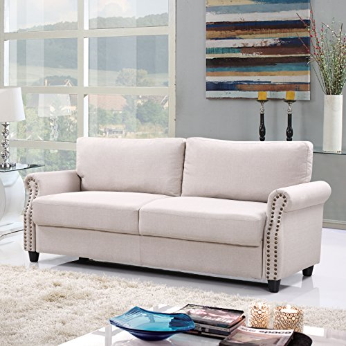 Madrid Taupe Beige Ultra Modern Living Room Furniture 3: Amazon.com: Classic Living Room Linen Sofa With Nailhead