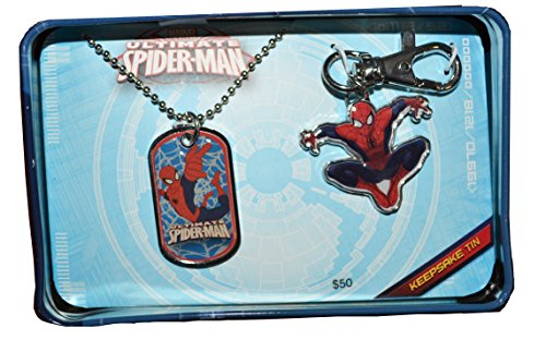 Spiderman Dog Tag and Key Chain Gift Keepsake Tin Set