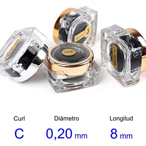 LBC Pestañas Postizas (false eyelashes) - real del pelo - C-Curl - Diámetro de 0, 20 mm - Longitud 8 mm LBC-275