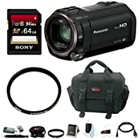 Panasonic HD Camcorder with Wireless Smartphone Twin Video Capture & 64GB SD Card Bundle