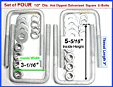 "(4) HDG Hot Dipped Galvanized Square U-Bolt Boat Trailer U bolt Ubolt 1/2"" D x 3 1/16"" W x 5 5/16"" L"