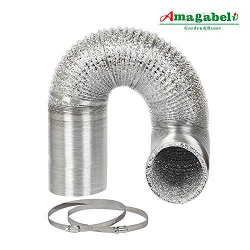 4in Aluminum Foil Duct Hose Grow Tent Room Ventilation Cooling System 8ft Flex Air Intake Helix Pipe Exhaust Inline Fan Filter CFM Flexible Clothes Dryer Vent with 2 Tension Hose Clamps HVAC Heat - Foil Flex Duct