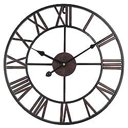 Roman Round Clock, Timelike Handmade Large Wall Clock Wrought Metal Wall Art Hanging Decorative Wall Sculpture Decor (50CM)