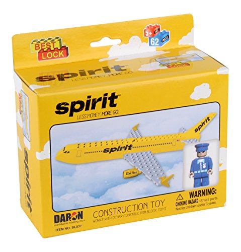 Daron Worldwide Trading BL537 Spirit Airlines Construction Kit, (62 Piece)