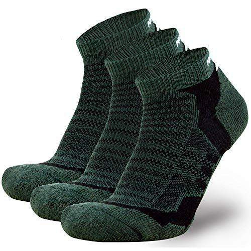 - Merino Wool Socks Men and Women - Low Cut Cushioned Athletic Running Sock, Moisture Wicking (3 Pairs - Highland Green/Black, Large)