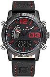 NAVIFORCE Fashion Luxury Brand Men Waterproof Military Sports Men's Quartz Digital Leather WristWatches (Red)