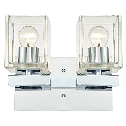 Westinghouse 6334400 Nyle Two-Light Indoor Wall Fixture, Chrome Finish with Clear Glass