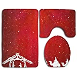 Hexu Christian Christmas Scene On Red Background Illustration Bathroom Rug 3 Piece Bath Mat Set Contour Rug And Lid Cover