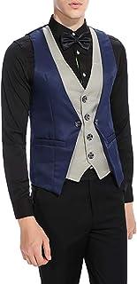 Men's Single-Breasted V-Neck Slim Vest Sleeveless Adjustable Back Buckle Belt Stitching Fake Two-Piece Suit Vest,Black,XL