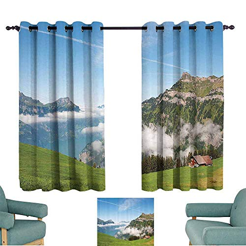 DILITECK Warm Curtain Mountain Pastoral View Switzerland Lake Lucerne Cloudy Grassland Pines Altdorf Uri Blackout Draperies for Bedroom Living Room W84 xL72 Blue Green White ()
