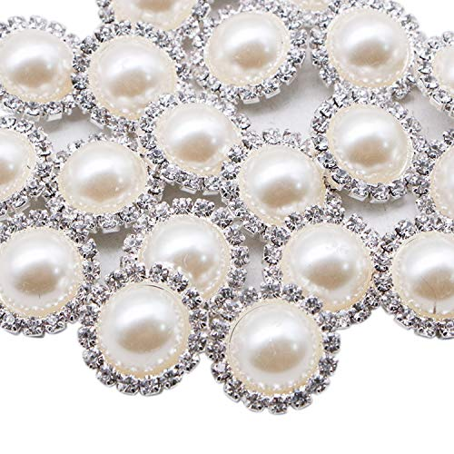 (JETEHO 20 PCS 18MM Retro Vintage Round Crystal Ivory Faux Pearl Rhinestone Buttons Sew Bulk (Shank))