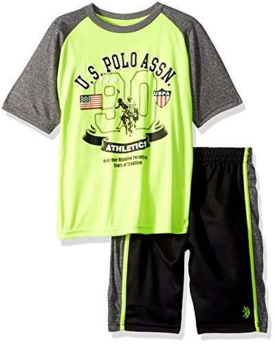 U.S. Polo Assn.. Little Boys' T-Shirt and Mesh Short Set, Cationic Athletic Short Set Neon Yellow, 7