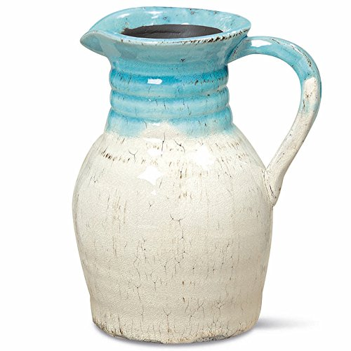WHW Whole House Worlds Beach Chic Pitcher, Turquoise Blue and Cream Ombre, Rustic Crackle Finished Glaze, Hand Rubbed, Distressed Stoneware, 8 Inches Tall, ()