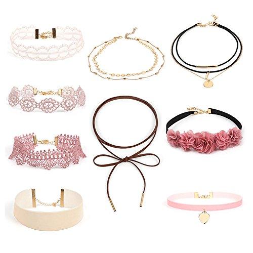 Child Choker - HaloVa Choker Set, Fashion Creative Choker Necklace, Classic Pink Flower Lace Choker Tattoo Necklace for Women Girls, Set of 9