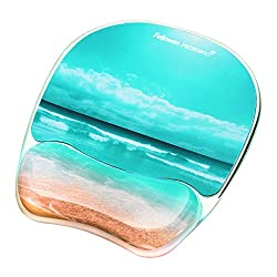 Fellowes Photo Gel Mouse Pad & Wrist Rest With Microban Protection, Sandy Beach (9179301)