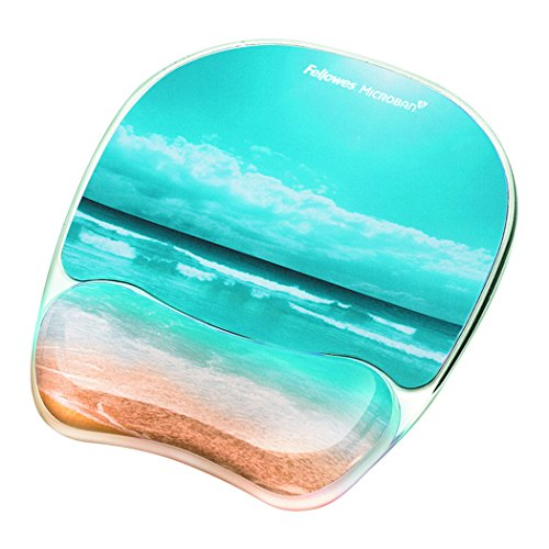Photo Gel Mouse Pad and Wrist Rest with Microban Protection, Sandy Beach () - Fellowes 9179301