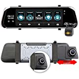 10 Inch IPS Touch Screen Car DVR 4G Android Camera Stream Media Dash Cam ADAS GPS Navi WIFI FHD 1080P Rear View Parking Monitor