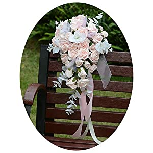 mamamoo Buque Noiva Lavender Bridal Bouquet Pink Roses Artificial Waterfall Flowers Romantic Handmade White Wedding Bouquet for Bride 5
