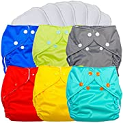 FuzziBunz Pocket Cloth Diapers 6 Pack Bundle with Inserts (Gender Neutral Solids, Small (7-18 lbs))
