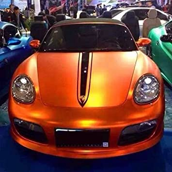 3d Chrom Matt Sunset Orange Metallic Mit Luftkanalen Car Wrapping