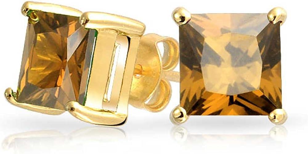 1Ct Brown Cognac Zirconio Cúbico Cuadrado Corte Princesa AAA CZ Pendiente Boton 14K Chapado En Oro Y Plata De 7Mm