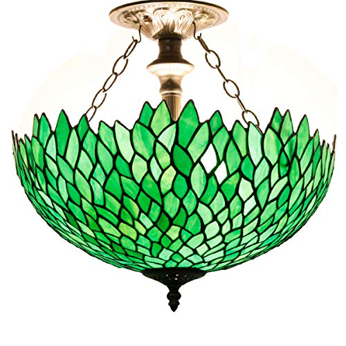 Tiffany Ceiling Fixture Lamp Semi Flush Mount 16 Inch Green Wisteria Stained Glass Shade for Dinner Room Pendant Hanging 2 - Inch Glass Lamp Stained 16