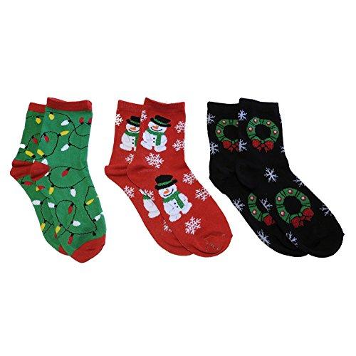 Crazy Kismet Festive Fun for the Family Kids Christmas Ankle Socks Three Pack (Lights, Snowman, Wreaths) (Stocking Snowman Family)