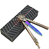 LOVIZA Practice Butterfly Knife Balisong Trainer Stainless Steel Butterfly Knife Training Practice Comb