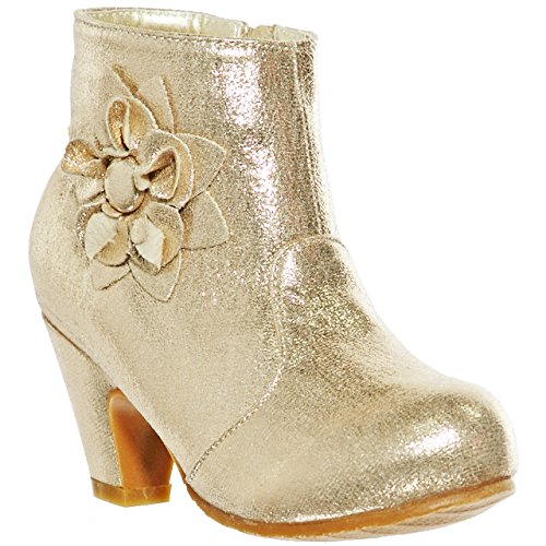 (shoewhatever Girls' Shimmering Low Heel Ankle Boots with Decorative Flowers (4, Gold)[Apparel])