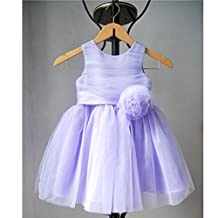 KAKA(TM) Lovely Girls One Piece Dress Rose Flower Gauze Purple Princess Skirt Party Costume Dress With Bowknot + Imperial crown(Height:56-60inch)