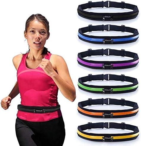 ランニングベルト スリムウエストポケットベルト 2つの拡張ポケット付き - 防汗ランナーベルト ファニーパック 携帯電話ポーチバッグ ハイキング サイクリング クライミング ジョギング 6.5インチスマートフォン用