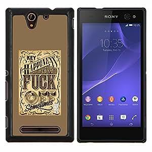Felicidad amarillo retro vintage texto- Metal de aluminio y de plástico duro Caja del teléfono - Negro - Sony Xperia C3 D2533 / C3 Dual D2502