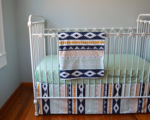 Soren by Angelique Aztec Bumperless Crib Bedding Navy Blue, Gold, Mint by Soren by Angelique