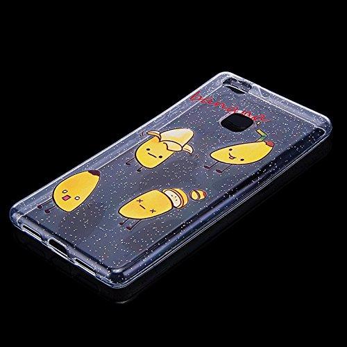 Funda Huawei P9 lite,SainCat Moda Alta Calidad suave de TPU Silicona Suave Funda Carcasa Parachoques Diseño pintado Patrón para Funda TPU Silicona Flexible Ultra Delgado Ligero Goma Case Cover Caja Su Plátano