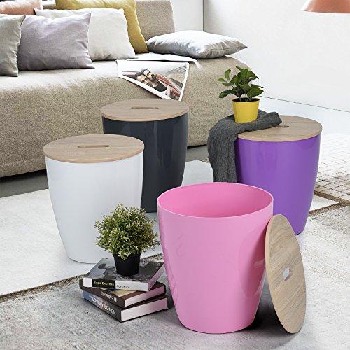 WOHOMO set of 4 Colors Toy Storage Organizer Buckets Bins Room Storage Baskets Bedroom Room Cloth Storage Organizer Space Saving Storage With Wooden Lid For Your Bedroom&Living Room