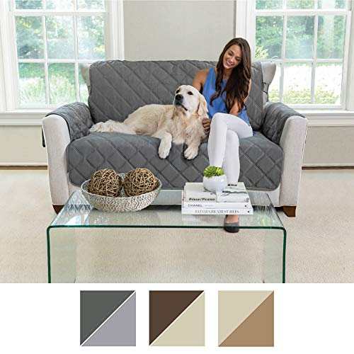 MIGHTY MONKEY Premium Reversible Couch Slipcover, Furniture Protector, 2'' Elastic Strap, Machine Washable, Cover Perfect for Kids, Dogs, Cats, Seat Width Up to 54'' (Loveseat: Charcoal/Light Gray) by MIGHTY MONKEY