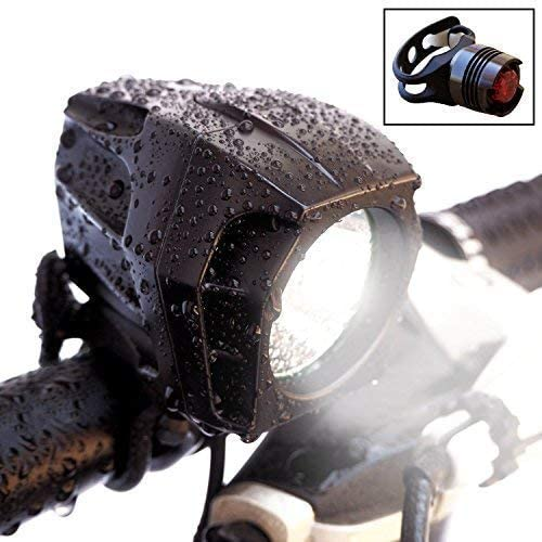 Bright Eyes Fully Waterproof 1600 Lumen Rechargeable Mountain, Road Bike Headlight, 6400mAh Battery Now 5 Hours on Bright Beam . Comes w Free Diffuser Lens and Free TAILLIGHT