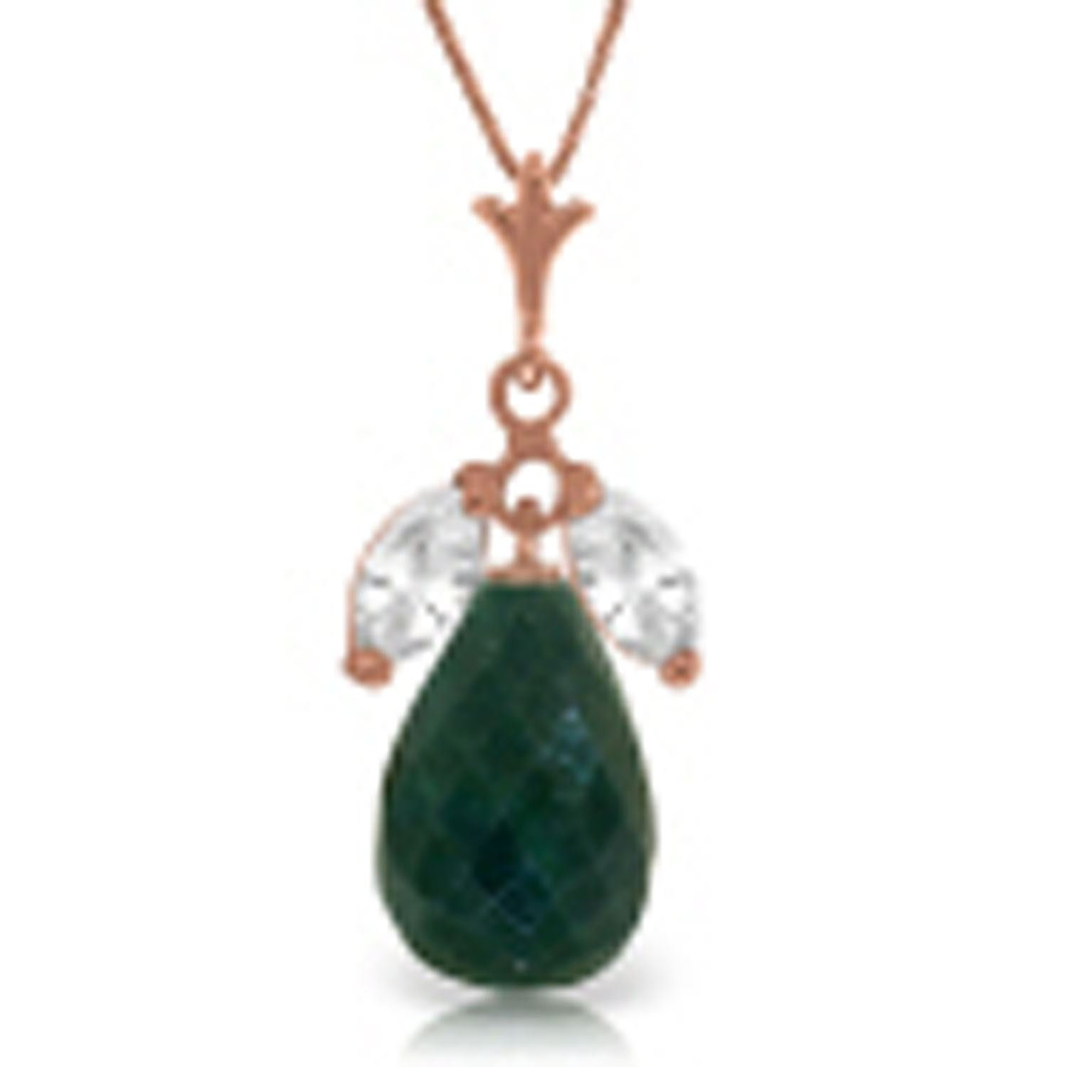 ALARRI 14K Solid Rose Gold Necklace w// Natural Emeralds /& Rose Topaz with 18 Inch Chain Length