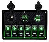 5 gang switch panel - DCFlat 5 Pin 4 Gang / 6 Gang Car Marine Boat Circuit RV LED Rocker Switch Panel Breaker Voltmeter USB for RV Car Boat Blue / Red / Green Light (6 Gang Plastic Green)
