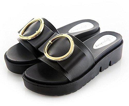 palabra gruesas 3 Zapatillas arrastrando hebilla redonda al femenina la de playa las de KUKI de sandalias final fuera vfYTq55w