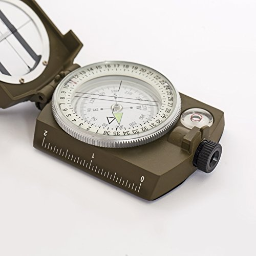 Military Style Compass; Shockproof, Waterproof with Luminescent Bezel for low light use. For Hiking, Camping and Preppers alike by Brouk & Co. by Brouk & Co.