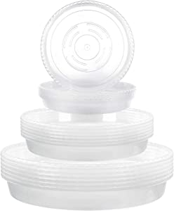 Alotpower Plant Saucer, 18 Pack Clear Plastic Plant Saucer Drip Trays Durable Flower Plant Pot Saucer for Indoor and Outdoor Plants (3 Size, 6/8/10 Inch)