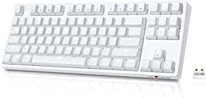Wireless Mechanical Keyboard, VELOCIFIRE TKL02WS 87 Key Tenkeyless Ergonomic with Brown Switches, and White LED Backlit for Copywriters, Typists, and Programmers(White)