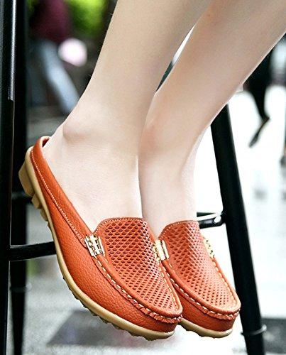 Resbalón redonda caliente hacia punta en fuera para Aisun mujer mocasines ahueca naranja 4rrawqRY