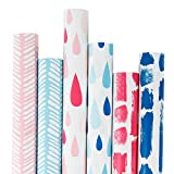 RUSPEPA Gift Wrapping Paper Roll-Pink and Blue Wrapping Paper for Birthdays, Valentines, Christmas-6 Roll-30Inch X 10Feet per Roll