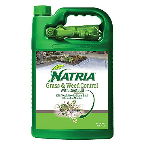 Natria 100532524 Grass & Weed Control with Root Kill Effective Herbicide Weed Killer, 1-Gallon White