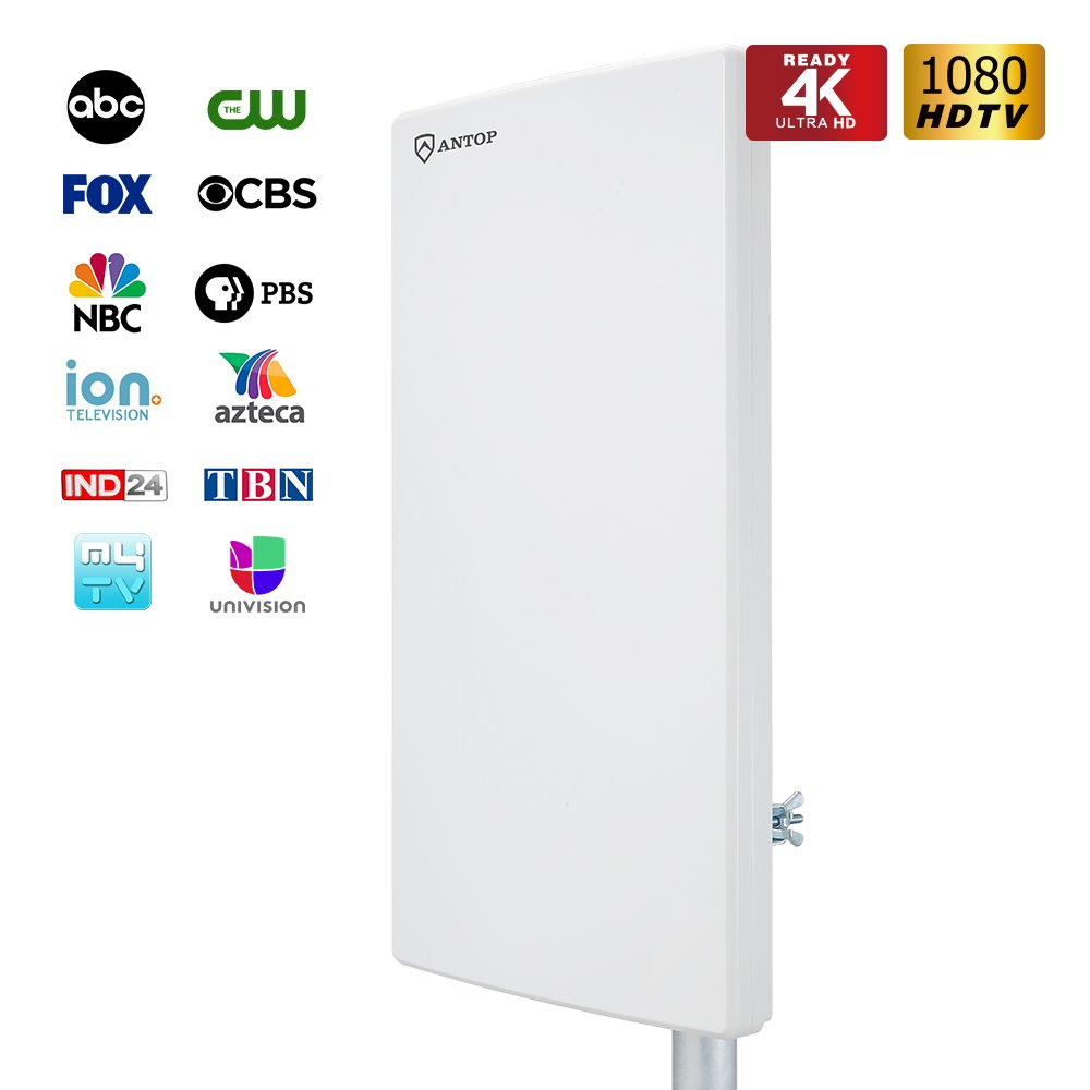 ANTOP Outdoor TV Antenna with Multi-Directional Reception, High Gain Digital TV Antenna for Better VHF/UHF Enhanced with 40ft Detachable Coaxial Cable, 65 Miles Long Range, White Color, 1-Pack